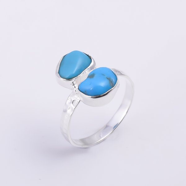 Turquoise Raw Gemstone 925 Sterling Silver Hammered Ring Size US 8