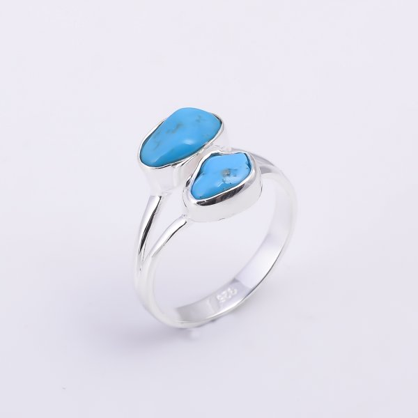 Turquoise Raw Gemstone 925 Sterling Silver Ring Size US 8.25