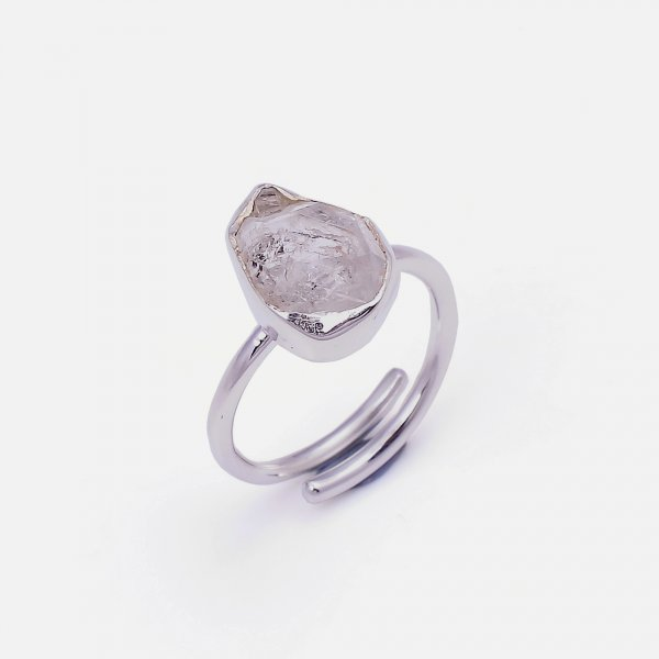 Natural Herkimer Diamond 925 Sterling Silver Ring Size US 5.75 Adjustable