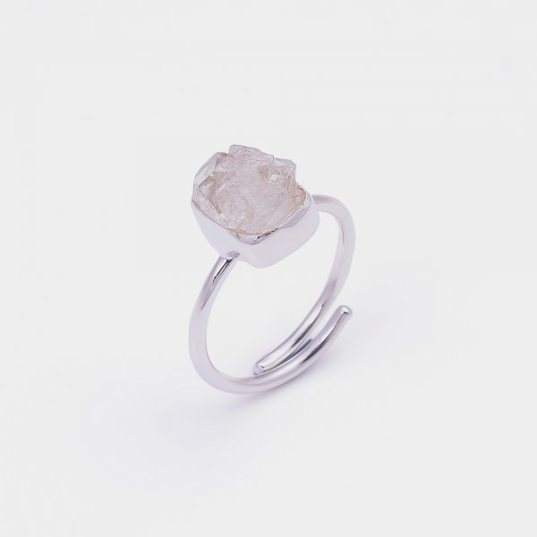 Natural Herkimer Diamond 925 Sterling Silver Ring Size US 8 Adjustable