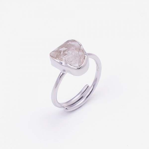 Natural Herkimer Diamond 925 Sterling Silver Ring Size US 7.25 Adjustable
