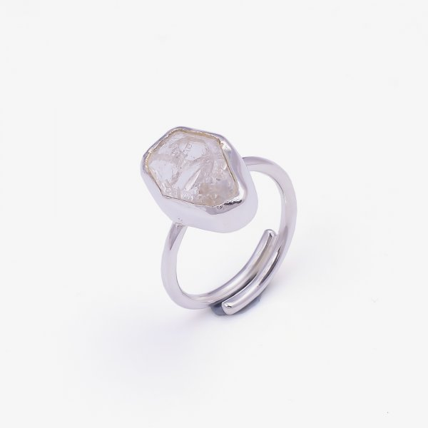 Natural Herkimer Diamond 925 Sterling Silver Ring Size US 5.5 Adjustable