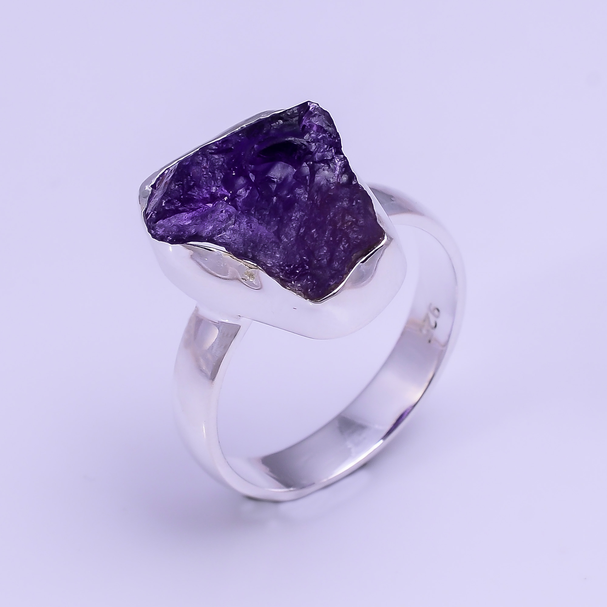 Natural Amethyst Raw Gemstone 925 Sterling Silver Ring Size US 6.75