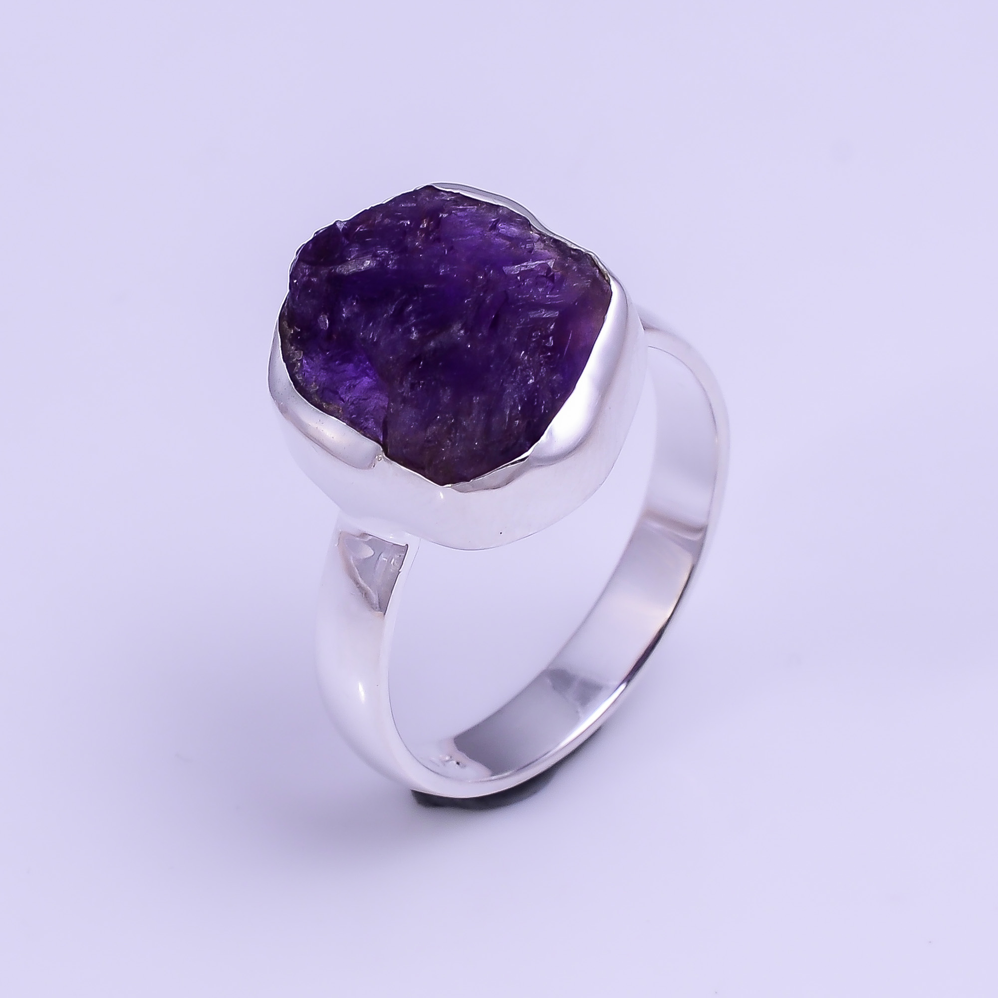 Natural Amethyst Raw Gemstone 925 Sterling Silver Ring Size US 7.75