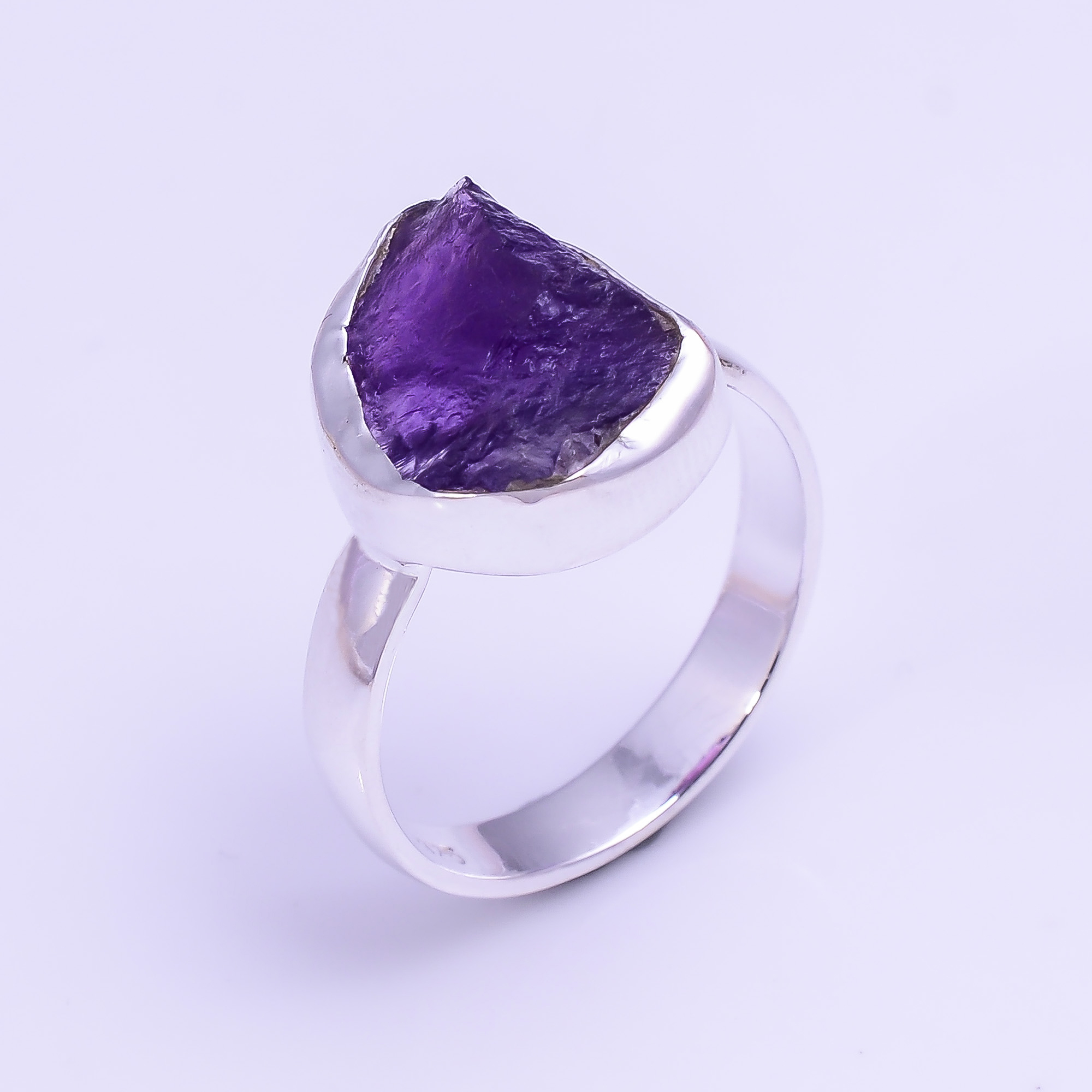 Natural Amethyst Raw Gemstone 925 Sterling Silver Ring Size US 5.75