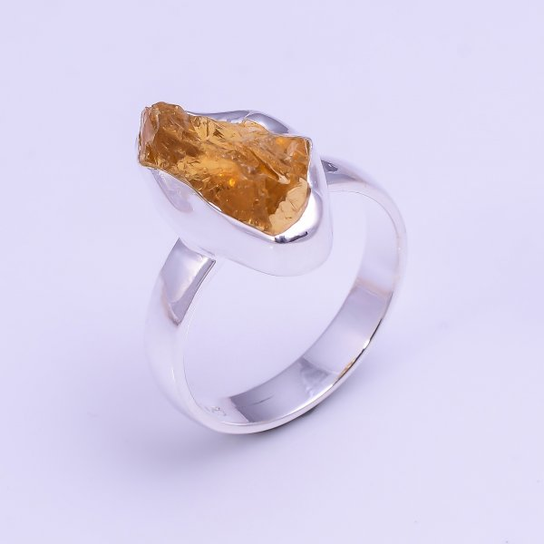Natural Citrine Raw Gemstone 925 Sterling Silver Ring Size US 6.75