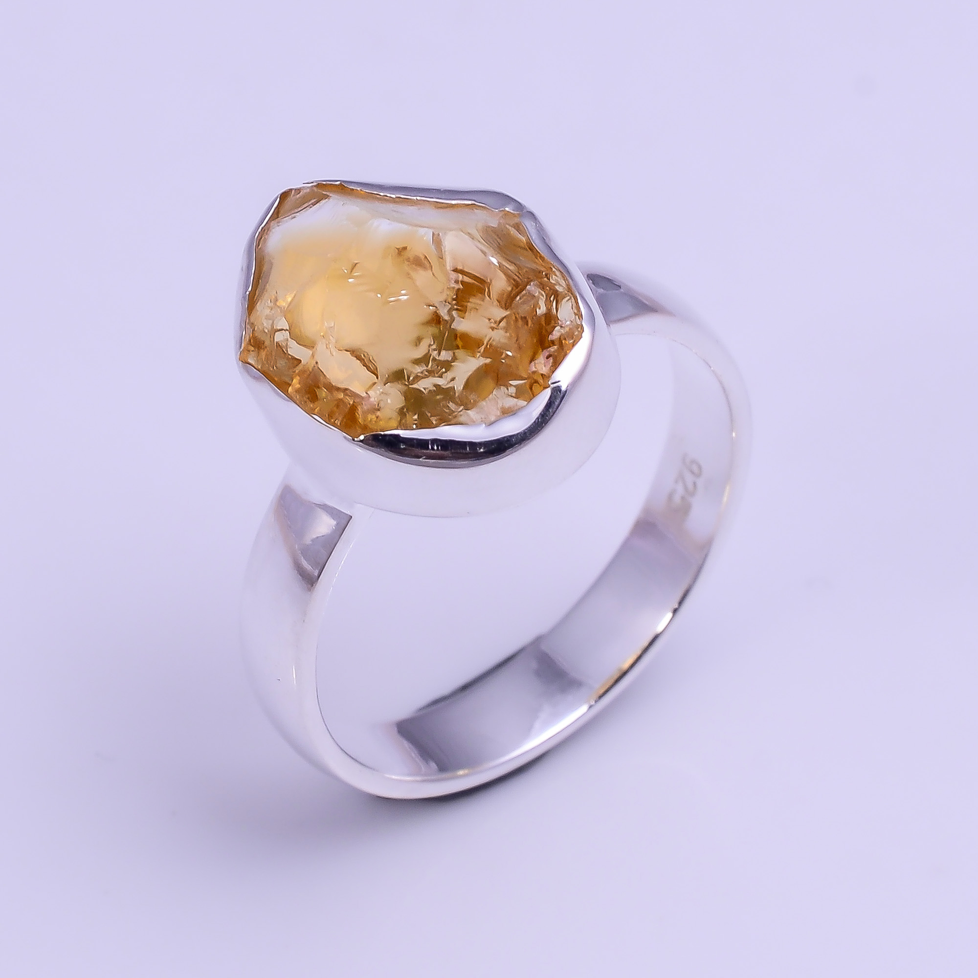 Natural Citrine Raw Gemstone 925 Sterling Silver Ring Size US 7.75