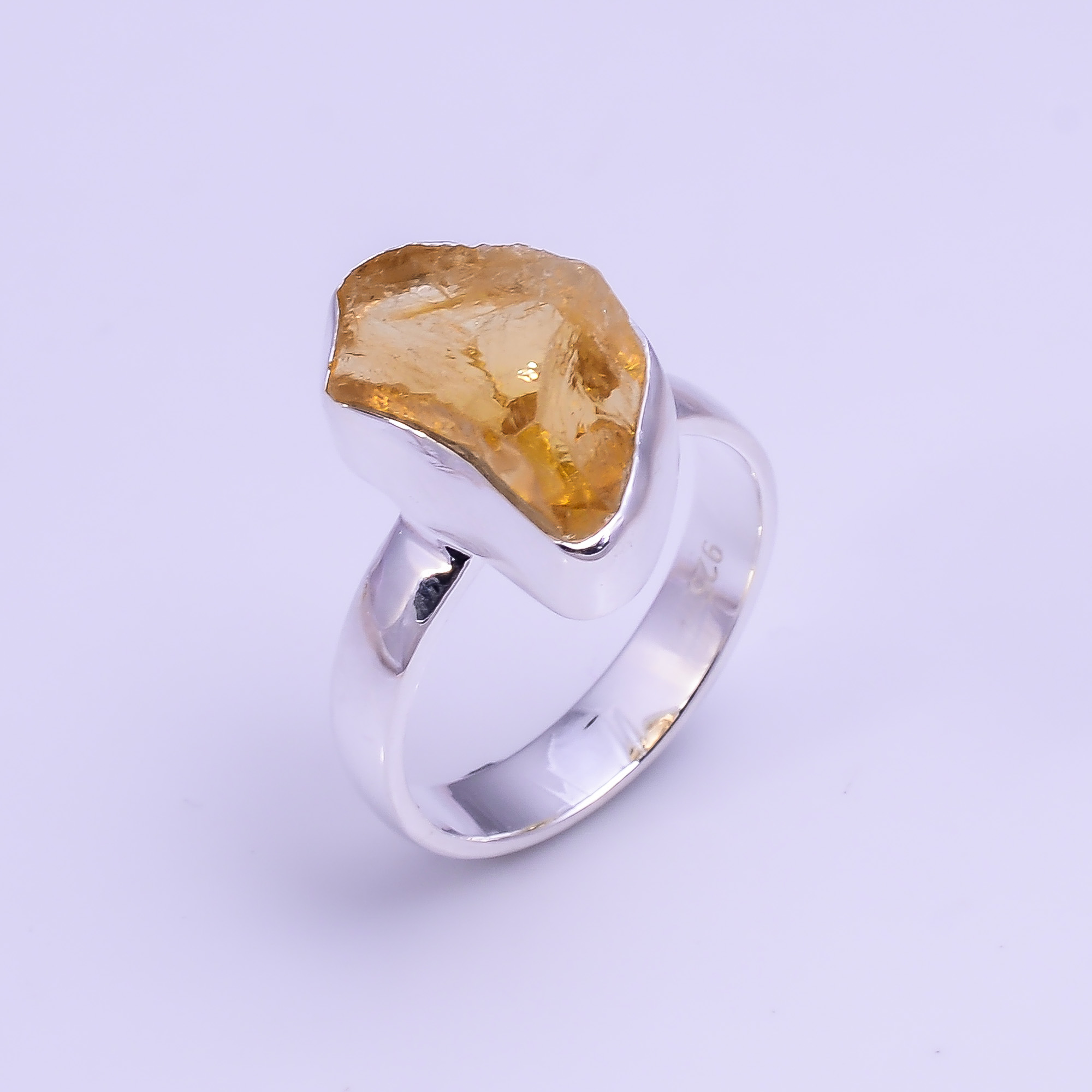 Natural Citrine Raw Gemstone 925 Sterling Silver Ring Size US 6