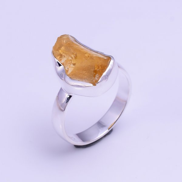 Natural Citrine Raw Gemstone 925 Sterling Silver Ring Size US 5.75