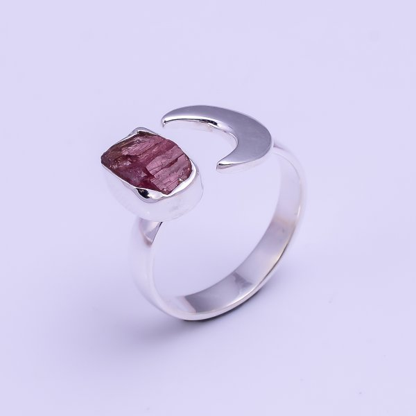 Natural Pink Tourmaline Raw Gemstone 925 Sterling Silver Ring Size US 7.5 Adjustable