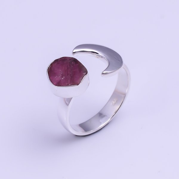 Natural Pink Tourmaline Raw Gemstone 925 Sterling Silver Ring Size US 6 Adjustable