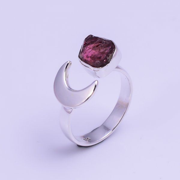 Natural Pink Tourmaline Raw Gemstone 925 Sterling Silver Ring Size US 7.75 Adjustable