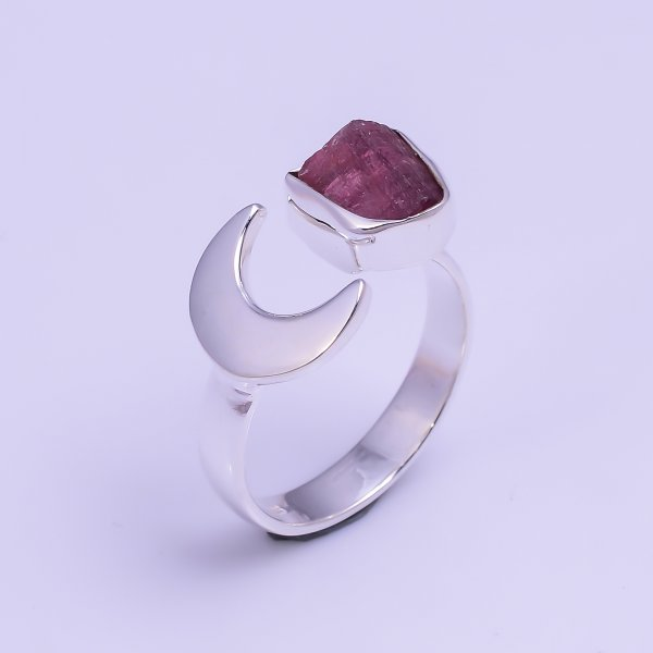 Natural Pink Tourmaline Raw Gemstone 925 Sterling Silver Ring Size US 6.75 Adjustable