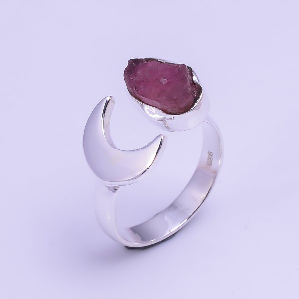 Natural Pink Tourmaline Raw Gemstone 925 Sterling Silver Ring Size US 5.75 Adjustable