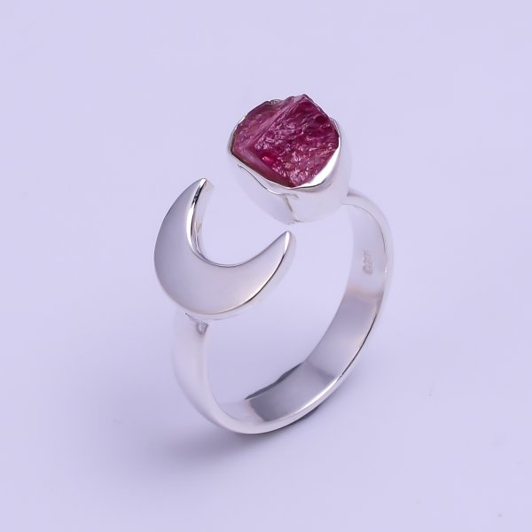Natural Pink Tourmaline Raw Gemstone 925 Sterling Silver Ring Size US 7.25 Adjustable