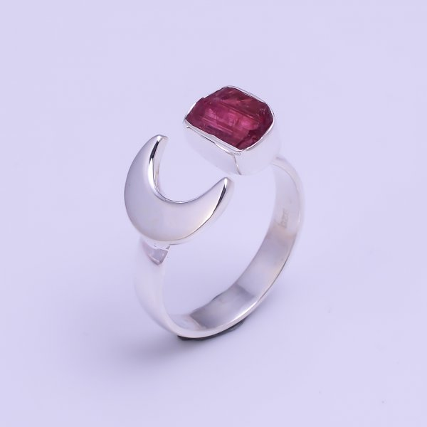 Natural Pink Tourmaline Raw Gemstone 925 Sterling Silver Ring Size US 7 Adjustable