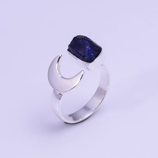 Sapphire Raw Gemstone 925 Sterling Silver Ring Size US 7 Adjustable