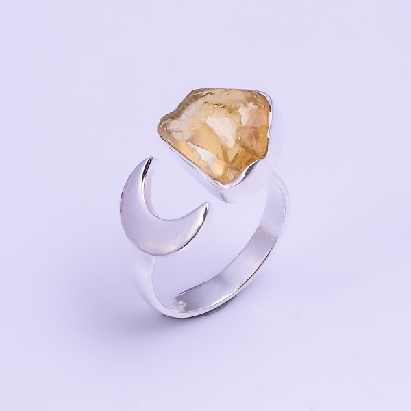 Natural Citrine Raw Gemstone 925 Sterling Silver Ring Size US 7.25 Adjustable