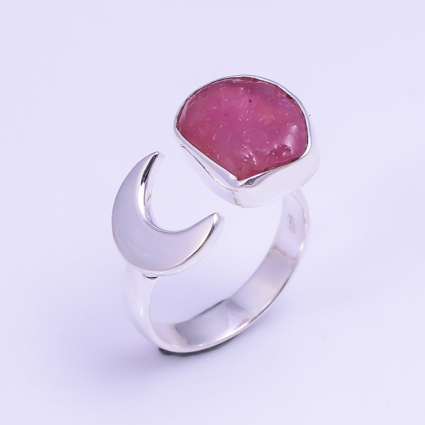 Ruby Raw Gemstone 925 Sterling Silver Ring Size US 5.75 Adjustable