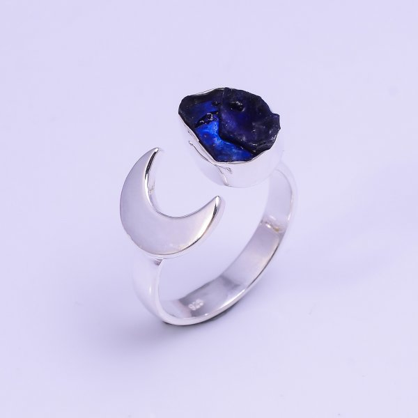 Sapphire Raw Gemstone 925 Sterling Silver Ring Size US 6.75 Adjustable