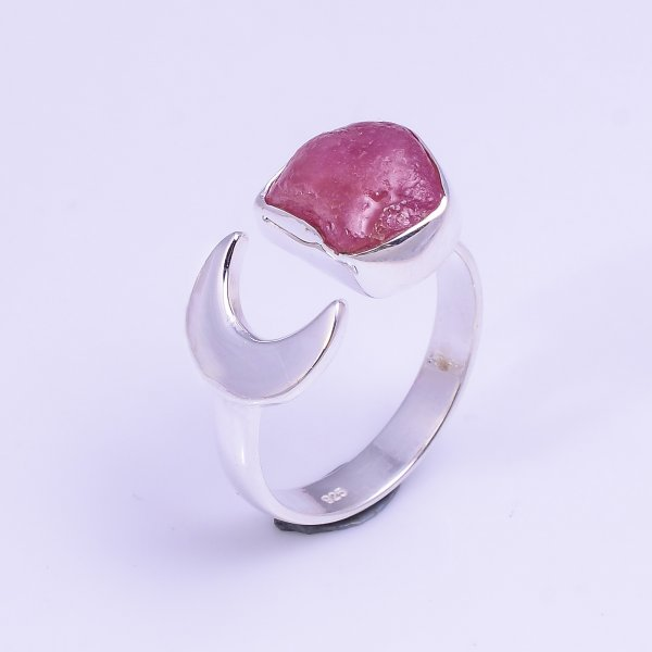 Ruby Raw Gemstone 925 Sterling Silver Ring Size US 8.25 Adjustable