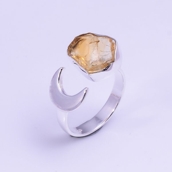 Natural Citrine Raw Gemstone 925 Sterling Silver Ring Size US 8.5 Adjustable