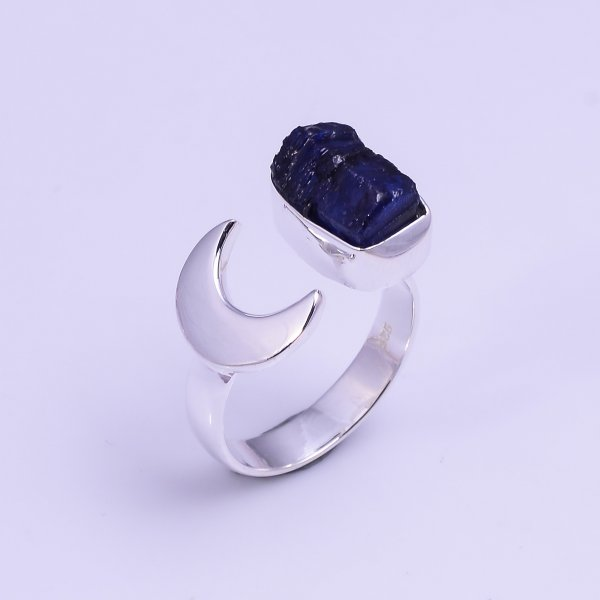 Sapphire Raw Gemstone 925 Sterling Silver Ring Size US 5.75 Adjustable