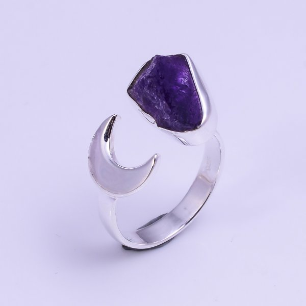 Amethyst Raw Gemstone 925 Sterling Silver Ring Size US 7.25 Adjustable