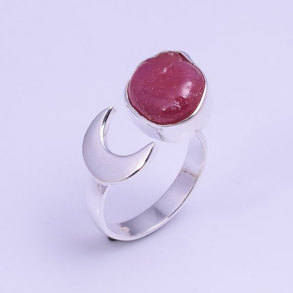 Ruby Raw Gemstone 925 Sterling Silver Ring Size US 6.75 Adjustable