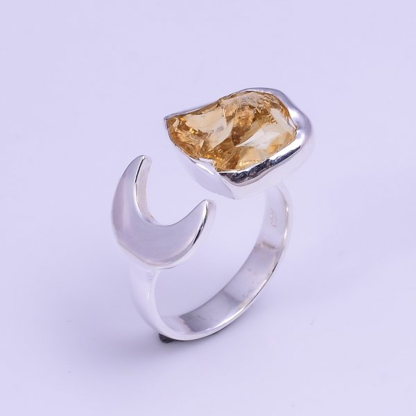 Natural Citrine Raw Gemstone 925 Sterling Silver Ring Size US 5.75 Adjustable