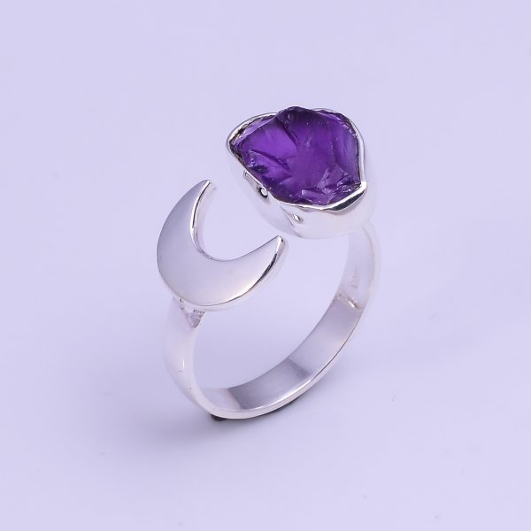 Natural Amethyst Raw Gemstone 925 Sterling Silver Ring Size US 8.25 Adjustable