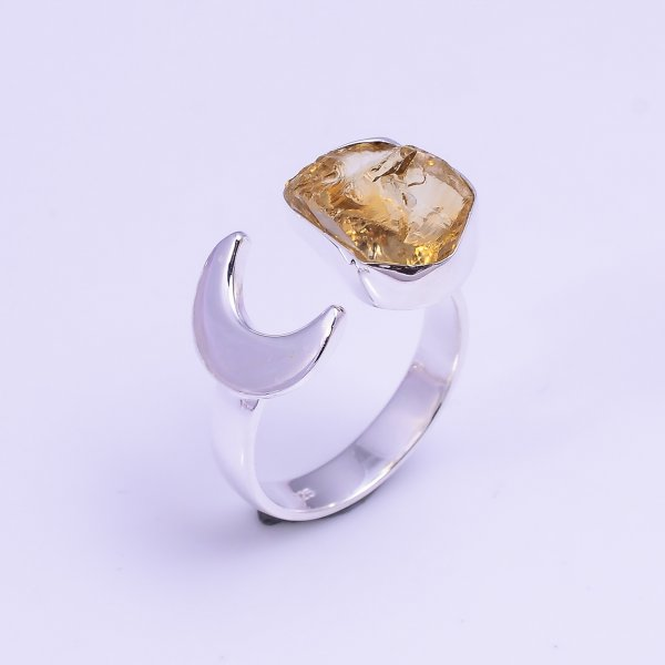 Natural Citrine Raw Gemstone 925 Sterling Silver Ring Size US 6 Adjustable