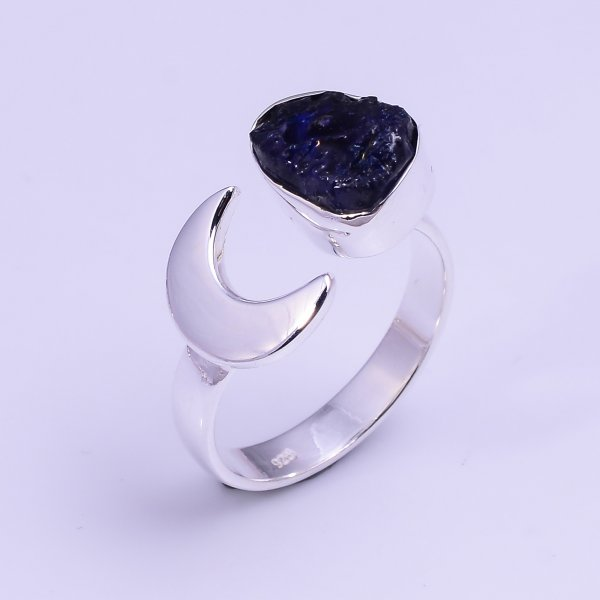 Sapphire Raw Gemstone 925 Sterling Silver Ring Size US 7.75 Adjustable