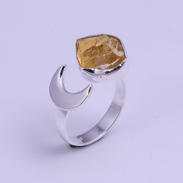 Natural Citrine Raw Gemstone 925 Sterling Silver Ring Size US 7.75 Adjustable