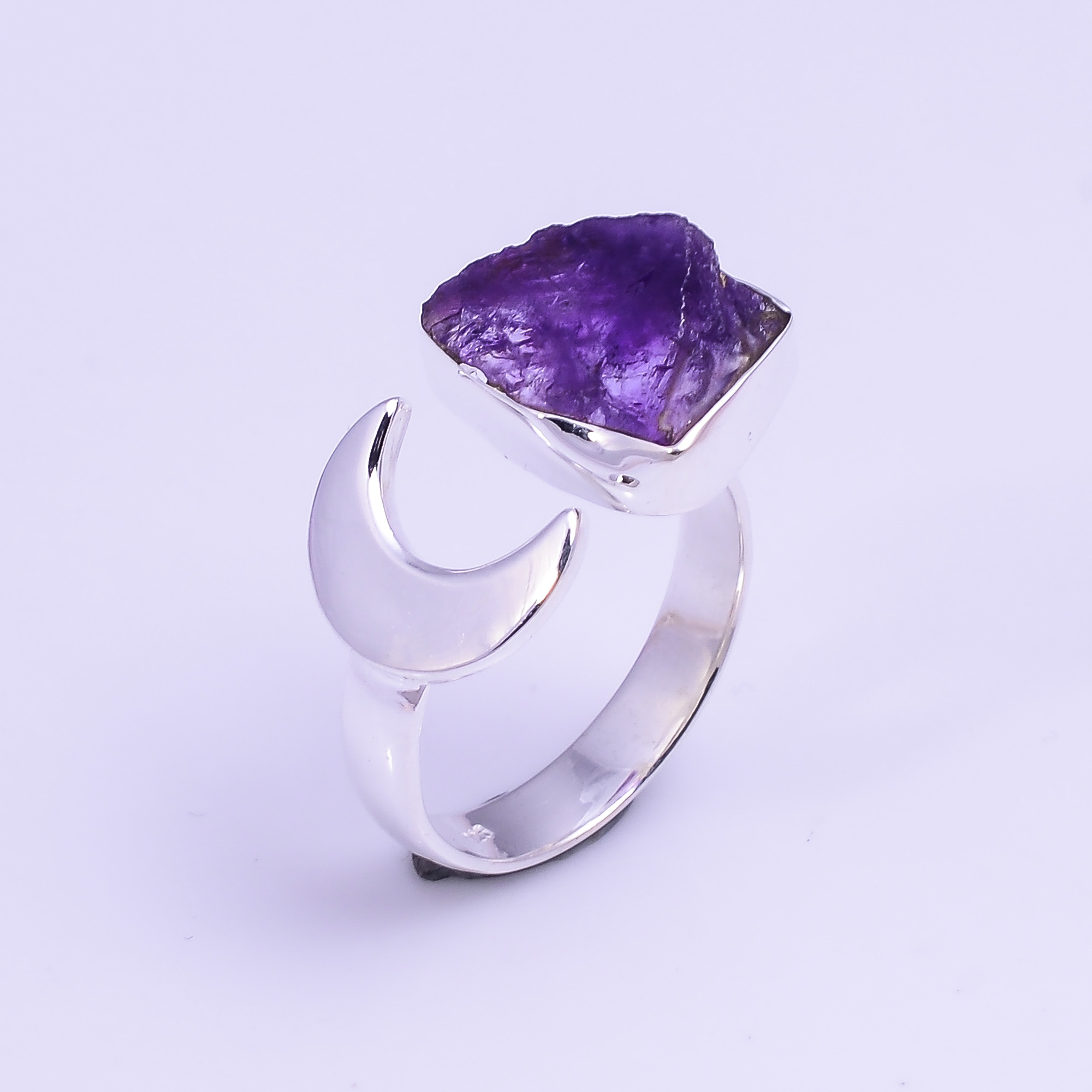 Natural Amethyst Raw Gemstone 925 Sterling Silver Ring Size US 6.25 Adjustable