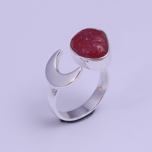 Ruby Raw Gemstone 925 Sterling Silver Ring Size US 8 Adjustable