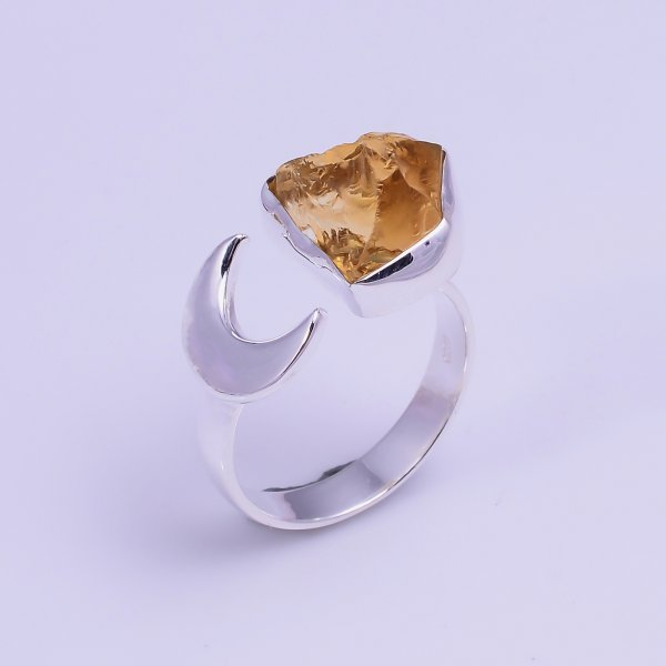 Natural Citrine Raw Gemstone 925 Sterling Silver Ring Size US 7 Adjustable