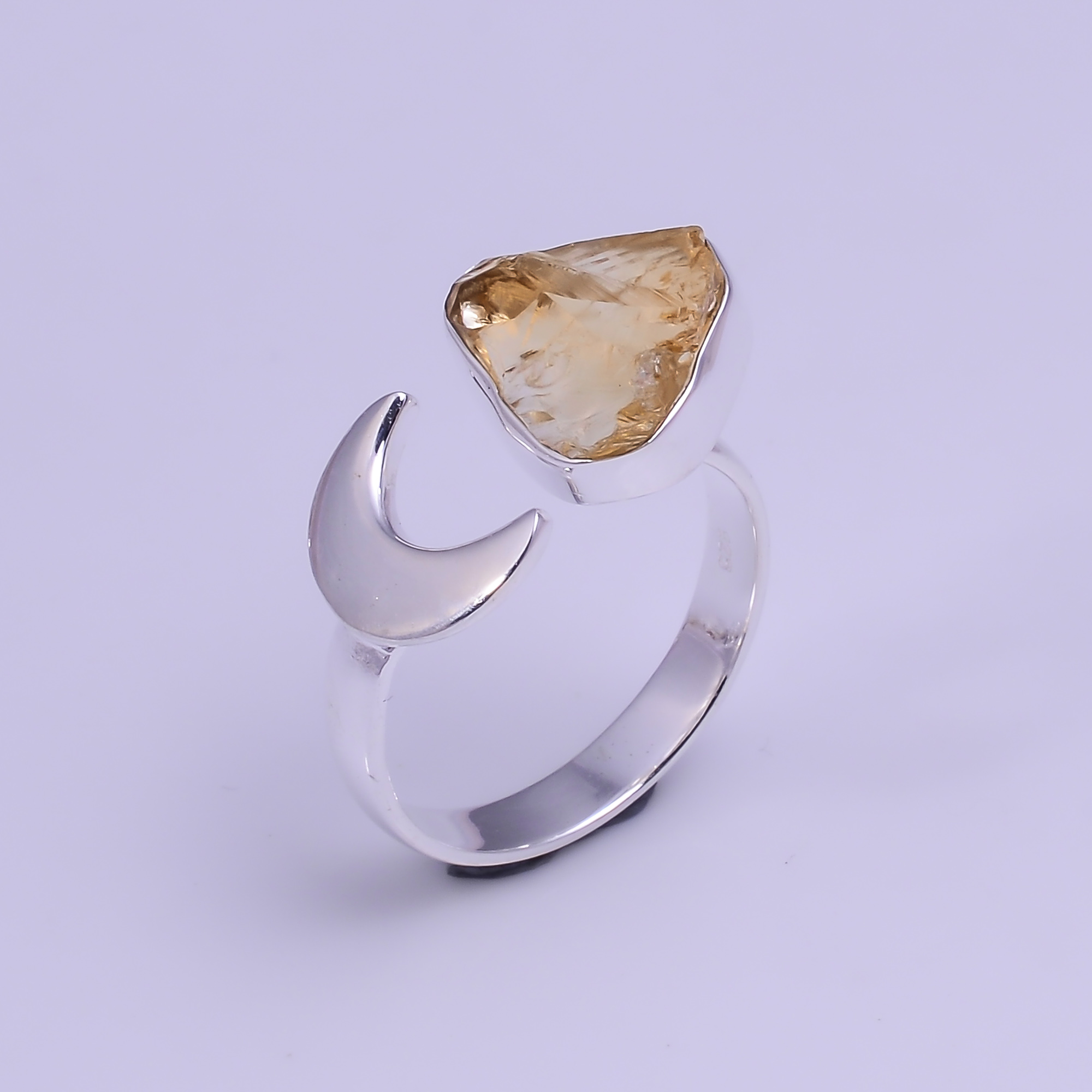Natural Citrine Raw Gemstone 925 Sterling Silver Ring Size US 8 Adjustable