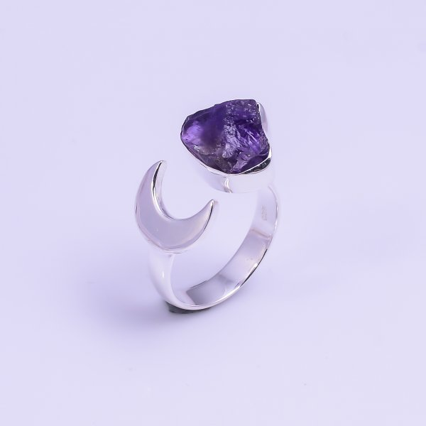 Natural Amethyst Raw Gemstone 925 Sterling Silver Ring Size US 5.75 Adjustable