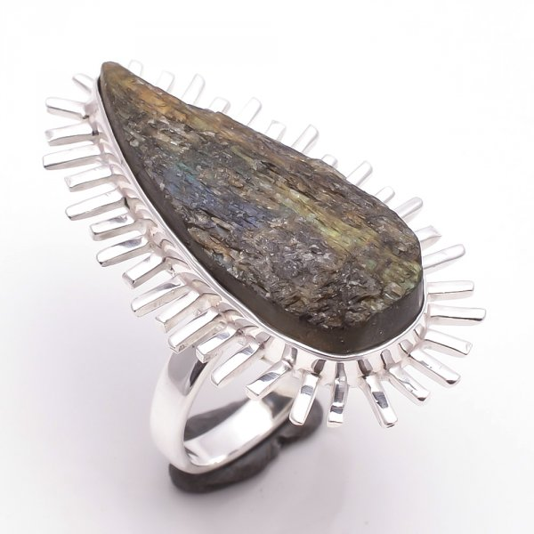Labradorite Raw Gemstone 925 Sterling Silver Ring Size 7