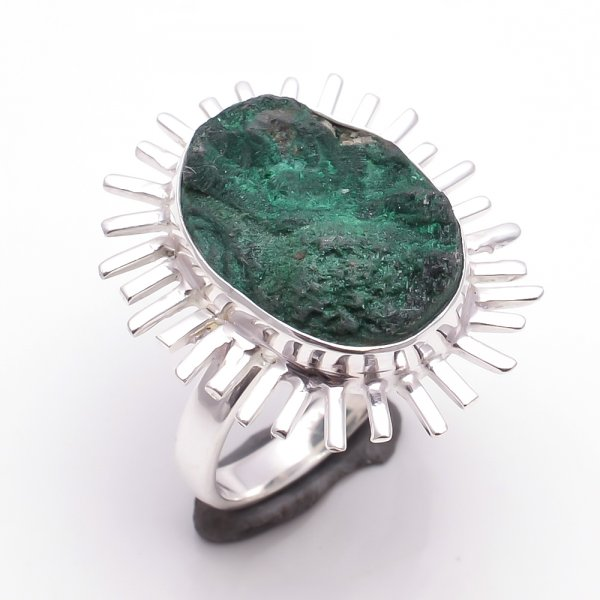 Malachite Raw Gemstone 925 Sterling Silver Ring Size 7
