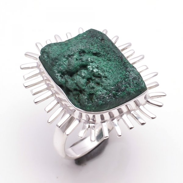 Malachite Raw Gemstone 925 Sterling Silver Ring Size 9