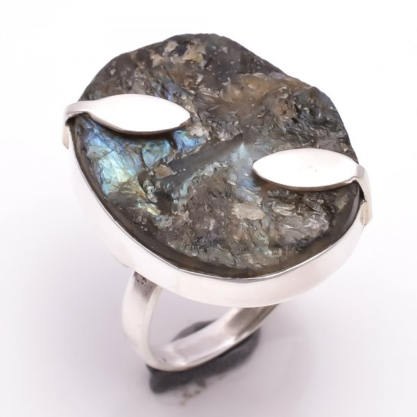 Labradorite Raw Gemstone 925 Sterling Silver Ring Size 8.5