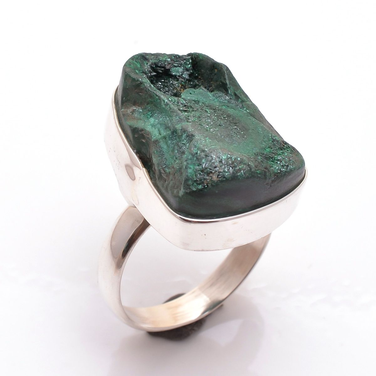 Malachite Raw Gemstone 925 Sterling Silver Ring Size 8.5