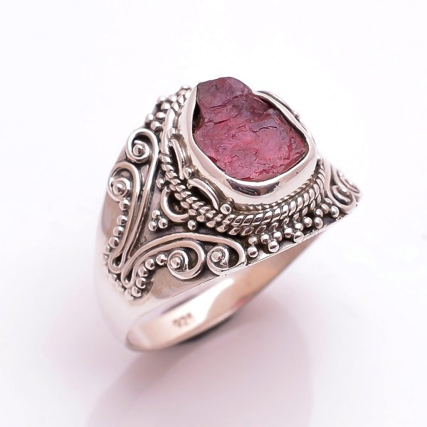 Pink Tourmaline Raw Gemstone 925 Sterling Silver Ring Size 8.5
