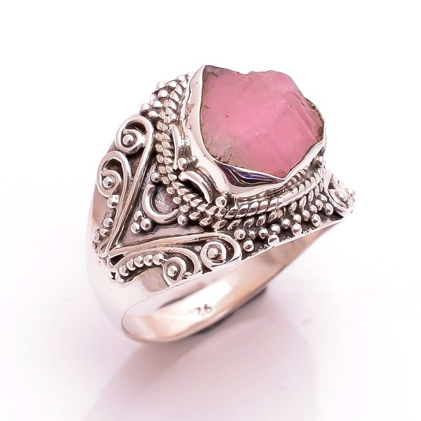 Pink Tourmaline Raw Gemstone 925 Sterling Silver Ring Size 7