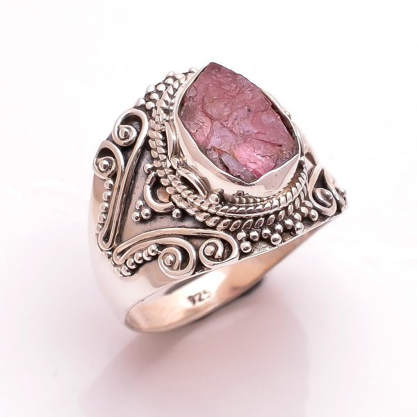 Pink Tourmaline Raw Gemstone 925 Sterling Silver Ring Size 7.5