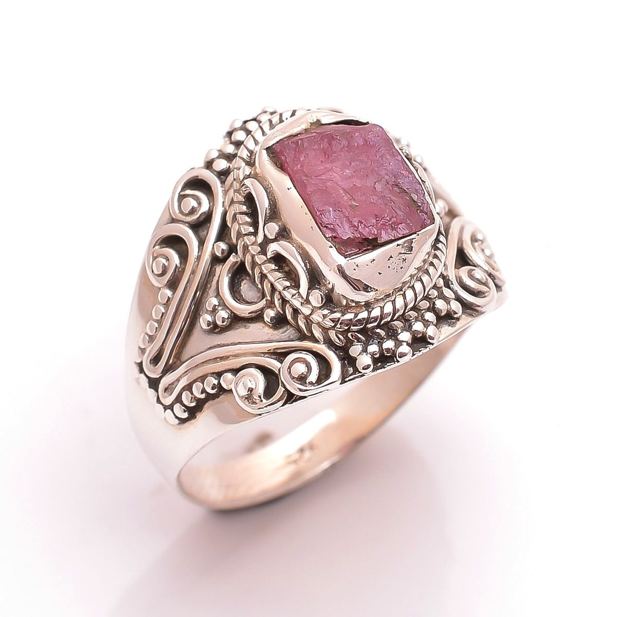 Pink Tourmaline Raw Gemstone 925 Sterling Silver Ring Size 8