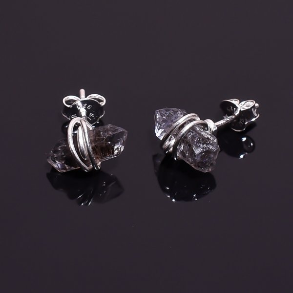 Raw Herkimer Diamond 925 Sterling Silver Stud Earrings