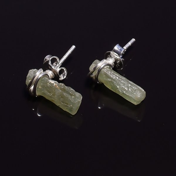 Raw Green Kyanite Gemstone 925 Sterling Silver Stud Earrings